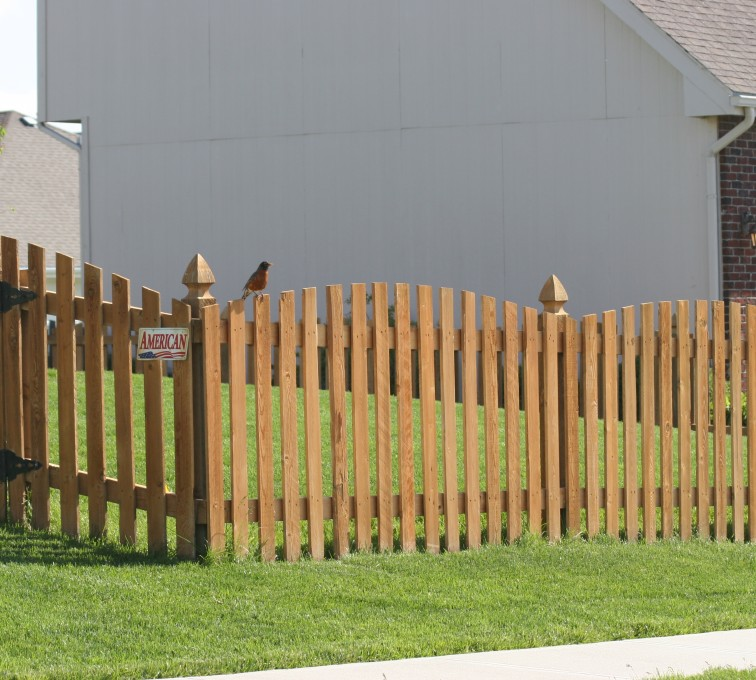 American Fence - Lincoln - Wood Fencing, 1001 4' overscallop picket