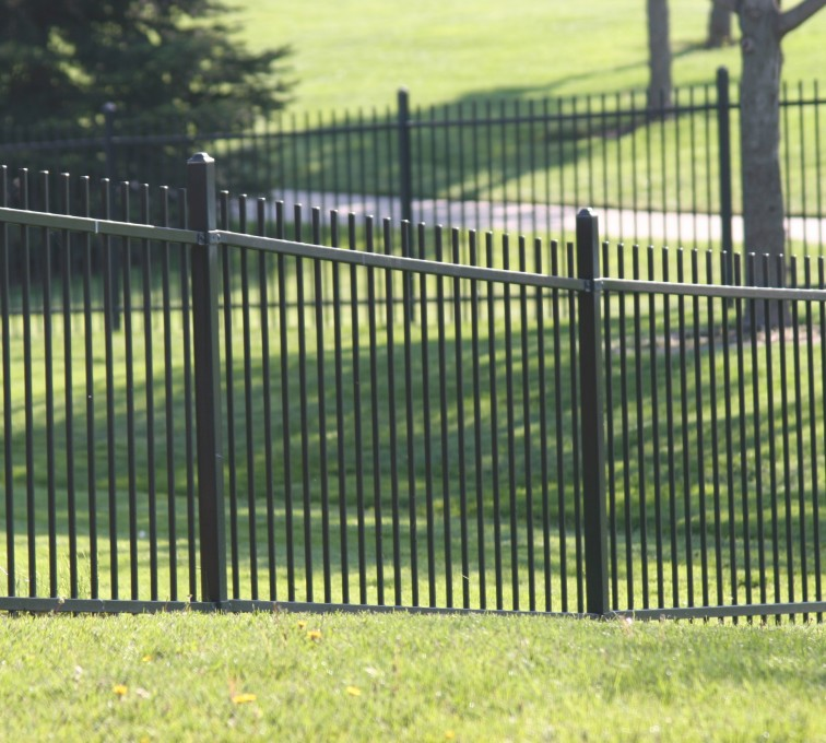 American Fence - Lincoln - Ornamental Fencing, 1052 4' Genesis 2 rail black