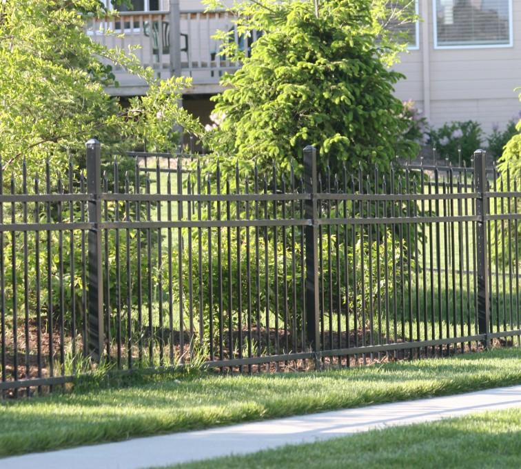 American Fence - Lincoln - Ornamental Fencing, 1055 4' 3 rail black 4