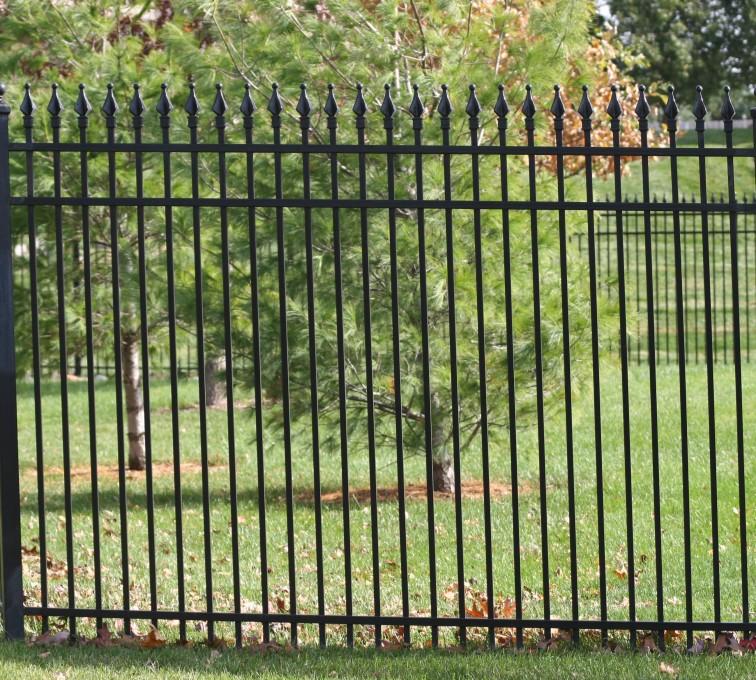 American Fence - Lincoln - Custom Iron Gate Fencing, 1207 Classic Quad Flame Ornamental Iron