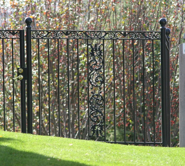 American Fence - Lincoln - Custom Iron Gate Fencing, 1209 Ornamental Iron gate with Scroll