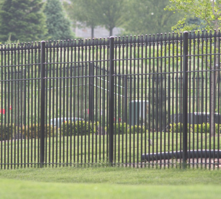American Fence - Lincoln - Custom Iron Gate Fencing, 1221 Quad flare straight picket