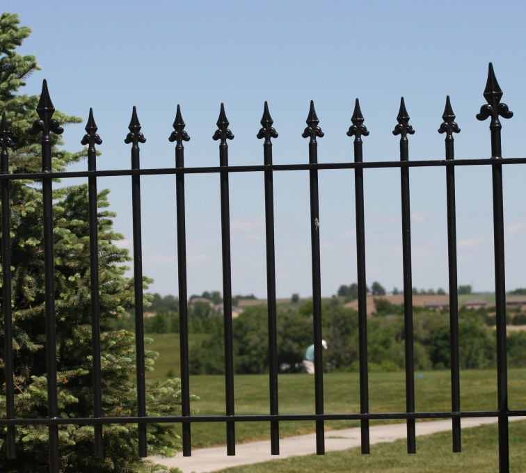 American Fence - Lincoln - Custom Iron Gate Fencing, 1224 Flor de Lis Picket 3'