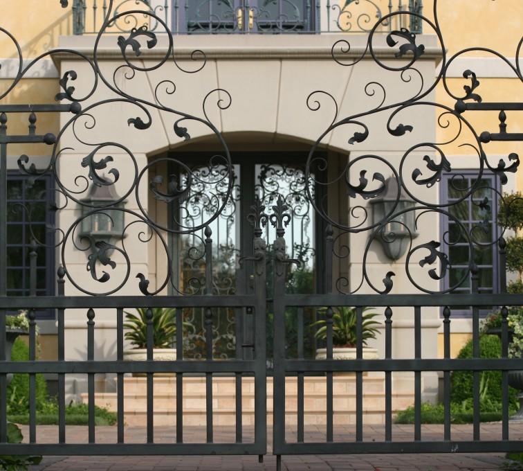 American Fence - Lincoln - Custom Gates, 1305 Estate gate with heavy scroll work