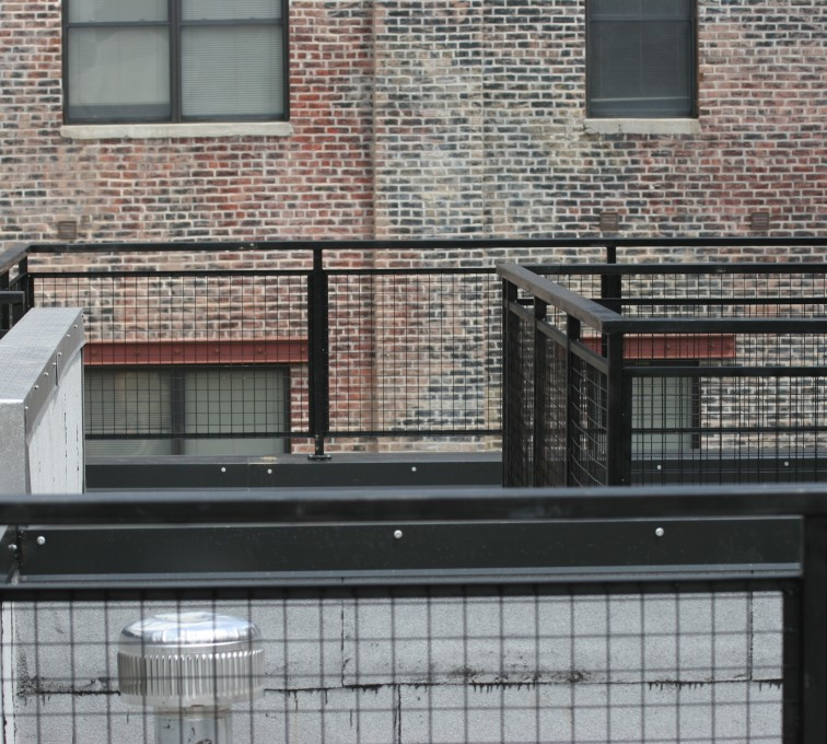 American Fence - Lincoln - Custom Railing, 2204 Railing with mesh infill