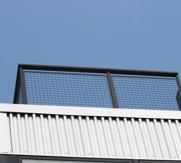 American Fence - Lincoln - Custom Railing, 2206 Railing with mesh infill