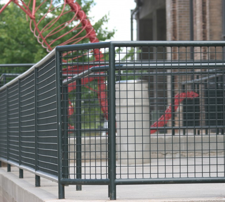 American Fence - Lincoln - Custom Railing, 2207 Railing with heavy mesh infill