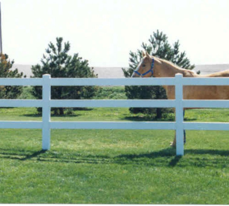 American Fence - Lincoln - Vinyl Fencing, 3 Ranch Rail (955)