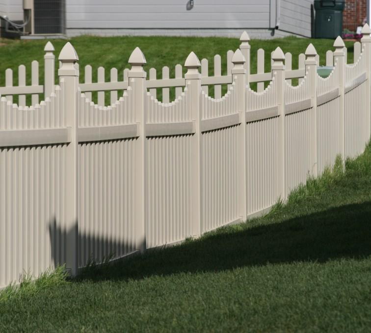 American Fence - Lincoln - Vinyl Fencing, 4' Picket Underscallop Tan 552