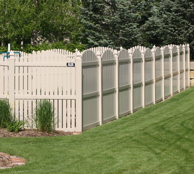 American Fence - Lincoln - Vinyl Fencing, 6' overscallop picket tan 554