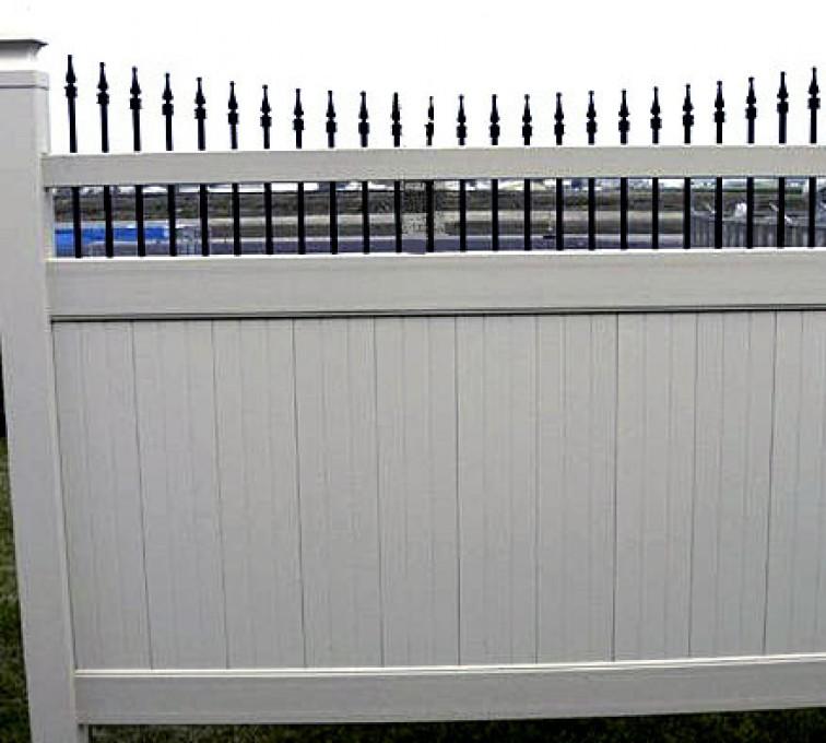 American Fence - Lincoln - Vinyl Fencing, 568 Black & Tan Underscallop