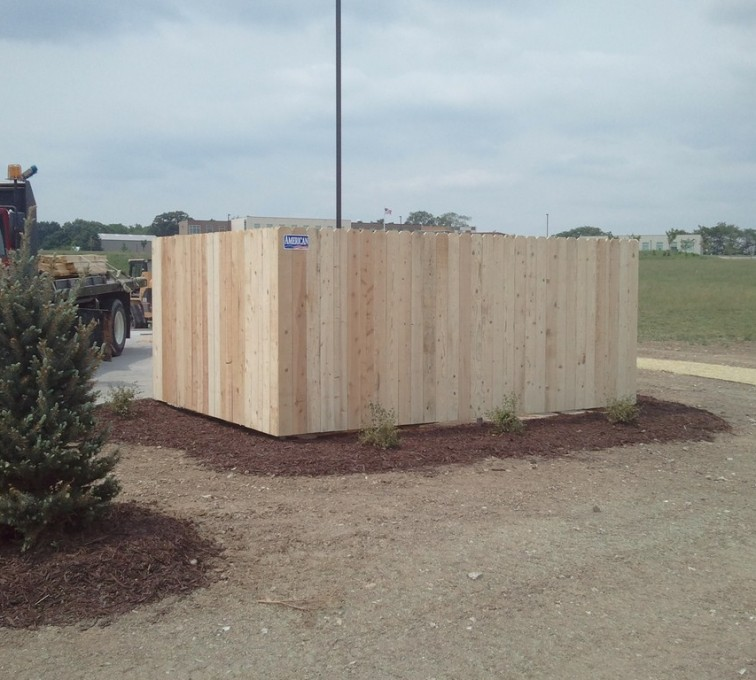 American Fence - Lincoln - Wood Fencing, 6' Solid Dumpster Enclosure - AFC - IA