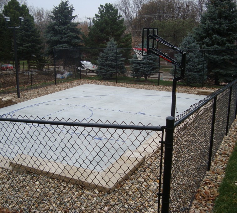American Fence - Lincoln - Sports Fencing, Black Vinyl Chain Link Sport Court AFC, SD