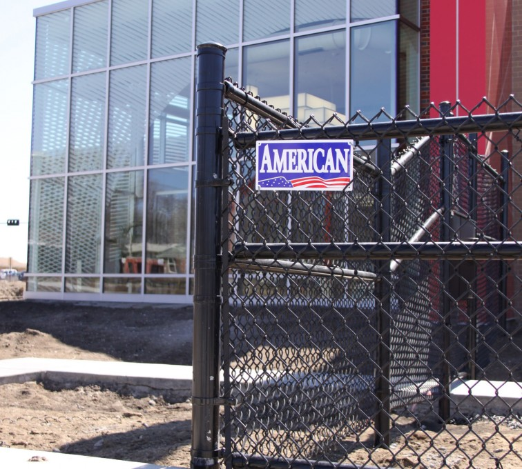 American Fence - Lincoln - Chain Link Fencing, Black vinyl chain link