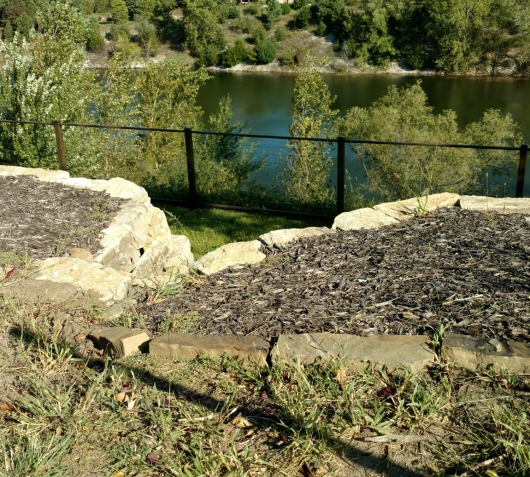 Cable railing installed on a river bank