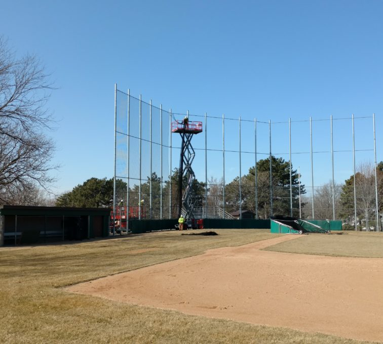 Chain link backstop while netting is being installed