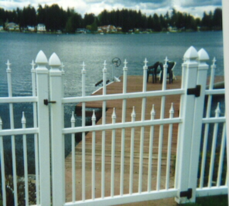 American Fence - Lincoln - Vinyl Fencing, Ornamental Conquer Gate 858