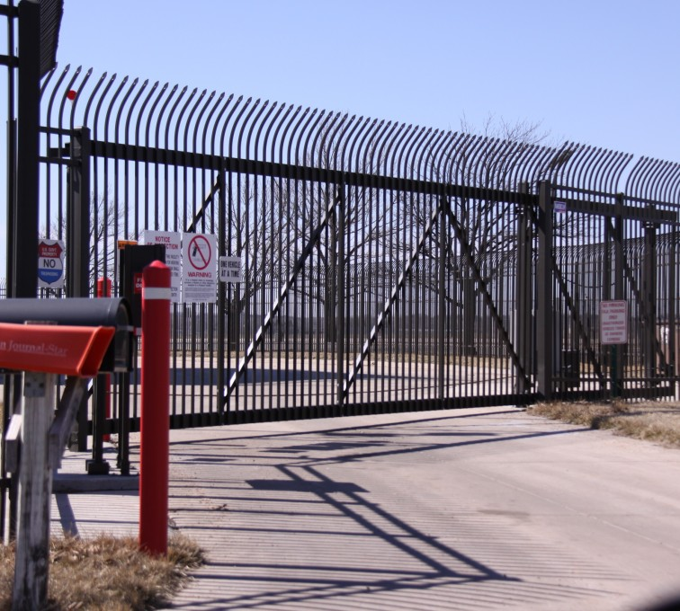 American Fence - Lincoln - Custom Gates, Ornamental Slide Gate with Radius Picket Accent