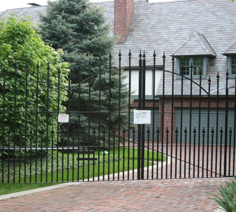 American Fence - Lincoln - Custom Gates,Overscallop Estate Gate With Puppy Accent