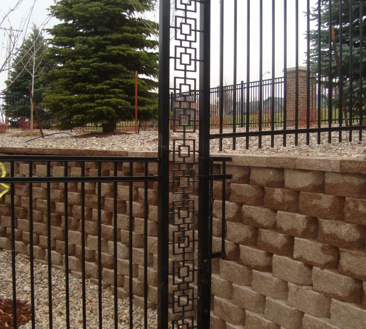 American Fence - Lincoln - Custom Iron Gate Fencing, Retaining Wall Transition AFC, SD