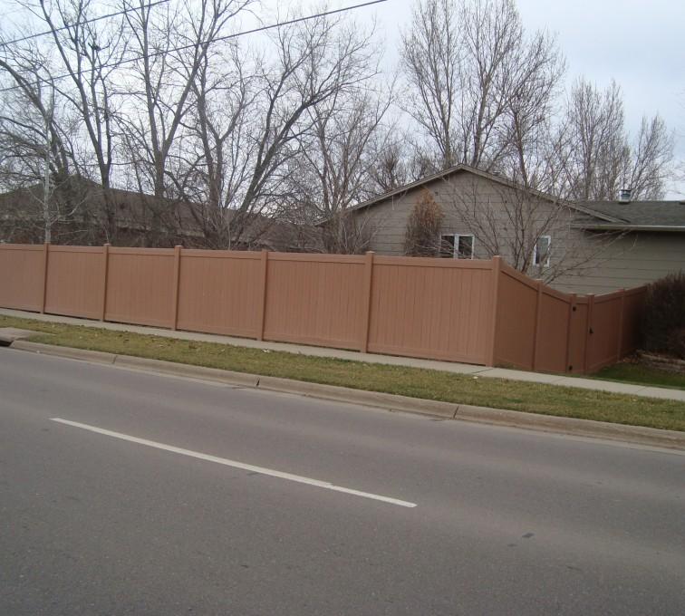 American Fence - Lincoln - Vinyl Fencing, Solid Privacy Cedar Tone