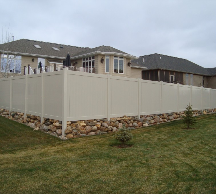 American Fence - Lincoln - Vinyl Fencing, Solid Privacy - Sandstone