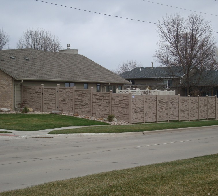 American Fence - Lincoln - Vinyl Fencing, Solid Privacy Stone Accent