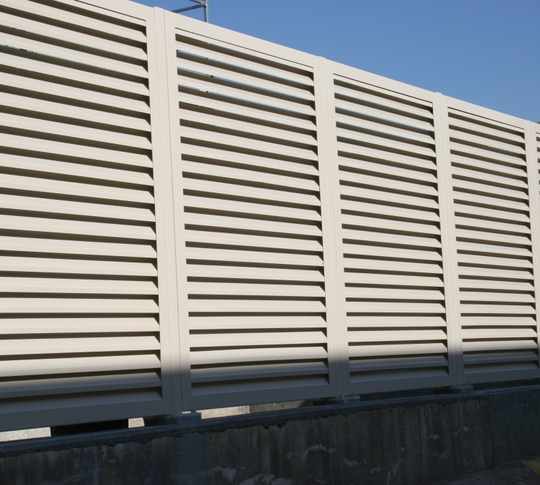 American Fence - Lincoln - Louvered Fence Systems Fencing, Steel Louvered Fence System