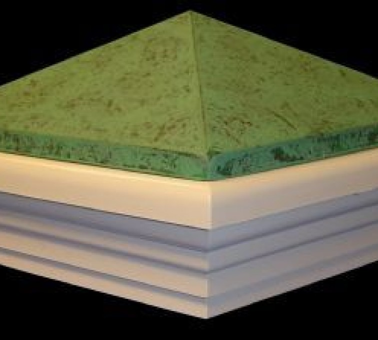 American Fence - Lincoln - Accessories, Green Patina PVC Vinyl Fence Post Caps