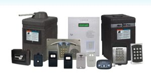 A picture depicting a wide selection of access control equipment, including access portals, operators, receivers, photo eyes, transmitters, keypads and key fobs