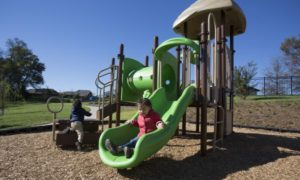 Child playing on green slide. The playground has some overhead covers and a tunnel with holes cut out of the side