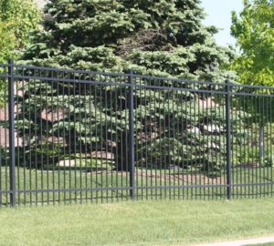 Residential flat top ornamental iron fencing