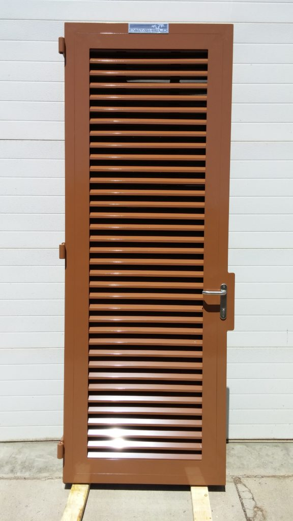 Powder coated louvered swing door